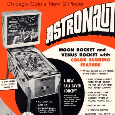 chicago coin, astronaut, pinball, sales, price, date, city, condition, auction, ebay, private sale, retail sale, pinball machine, pinball price