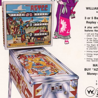 williams, aztec, pinball, sales, price, date, city, condition, auction, ebay, private sale, retail sale, pinball machine, pinball price