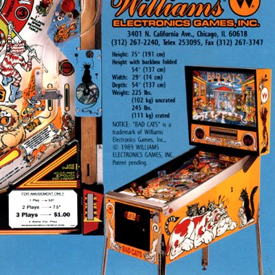 williams, bad cats, pinball, sales, price, date, city, condition, auction, ebay, private sale, retail sale, pinball machine, pinball price