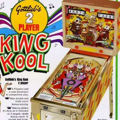 gottlieb, king kool, pinball, sales, price, date, city, condition, auction, ebay, private sale, retail sale, pinball machine, pinball price