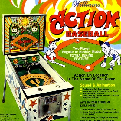 williams, action baseball, pinball, sales, price, date, city, condition, auction, ebay, private sale, retail sale, pinball machine, pinball price
