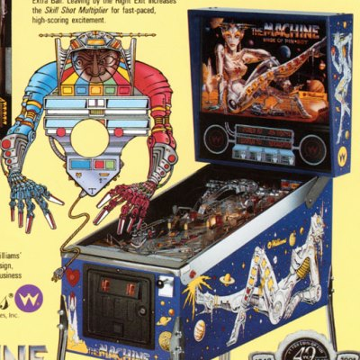 williams, the machine bride of pin bot, pinball, sales, price, date, city, condition, auction, ebay, private sale, retail sale, pinball machine, pinball price