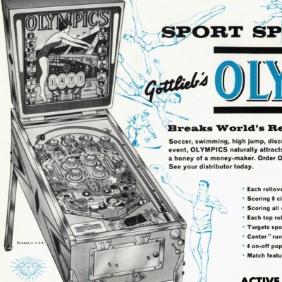 gottlieb, olympics, pinball, sales, price, date, city, condition, auction, ebay, private sale, retail sale, pinball machine, pinball price