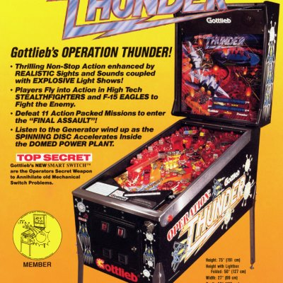gottlieb, operation thunder, pinball, sales, price, date, city, condition, auction, ebay, private sale, retail sale, pinball machine, pinball price