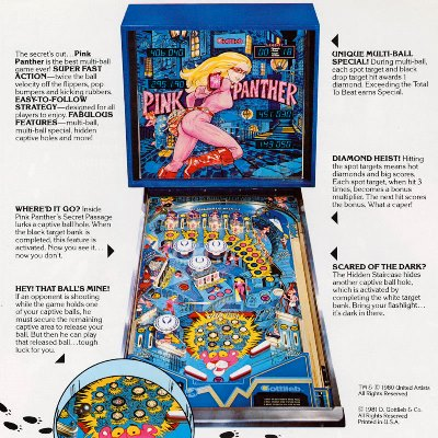 gottlieb, pink panther, pinball, sales, price, date, city, condition, auction, ebay, private sale, retail sale, pinball machine, pinball price