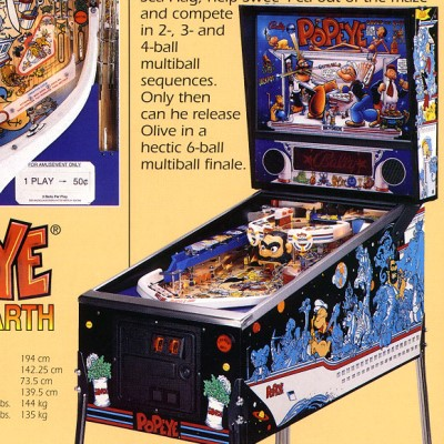 bally, popeye saves the earth, pinball, sales, price, date, city, condition, auction, ebay, private sale, retail sale, pinball machine, pinball price