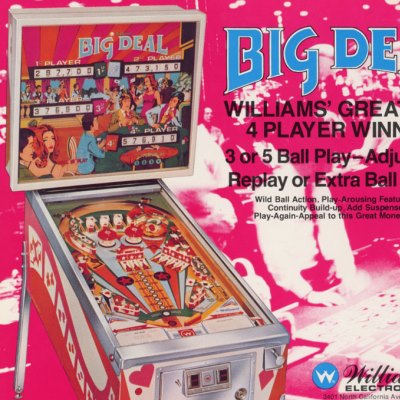 williams, big deal, pinball, sales, price, date, city, condition, auction, ebay, private sale, retail sale, pinball machine, pinball price