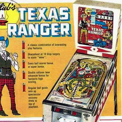 gottlieb, texas ranger, pinball, sales, price, date, city, condition, auction, ebay, private sale, retail sale, pinball machine, pinball price