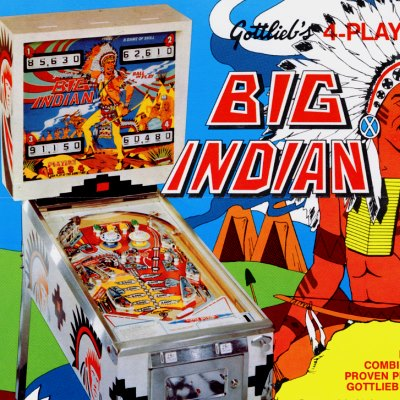 gottlieb, big indian, pinball, sales, price, date, city, condition, auction, ebay, private sale, retail sale, pinball machine, pinball price