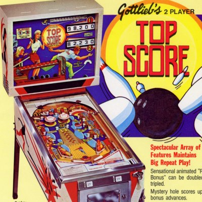 gottlieb, top score, pinball, sales, price, date, city, condition, auction, ebay, private sale, retail sale, pinball machine, pinball price