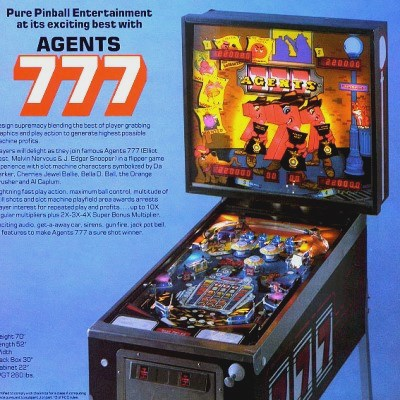 game plan, agents 777, pinball, sales, price, date, city, condition, auction, ebay, private sale, retail sale, pinball machine, pinball price