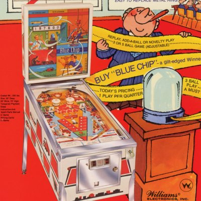 williams, blue chip, pinball, sales, price, date, city, condition, auction, ebay, private sale, retail sale, pinball machine, pinball price