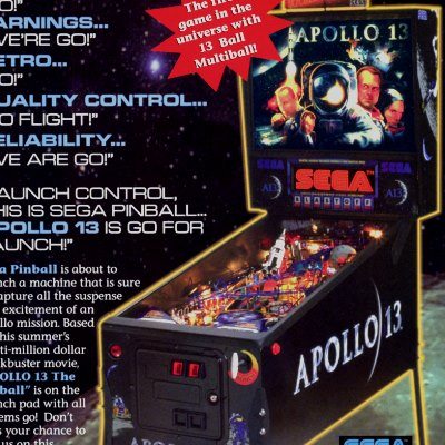 sega, apollo 13, pinball, sales, price, date, city, condition, auction, ebay, private sale, retail sale, pinball machine, pinball price