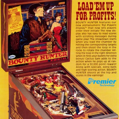 gottlieb, bounty hunter, pinball, sales, price, date, city, condition, auction, ebay, private sale, retail sale, pinball machine, pinball price