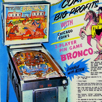 chicago coin, bronco, pinball, sales, price, date, city, condition, auction, ebay, private sale, retail sale, pinball machine, pinball price