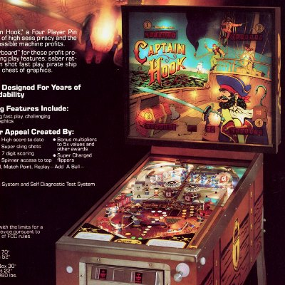 game plan, captain hook, pinball, sales, price, date, city, condition, auction, ebay, private sale, retail sale, pinball machine, pinball price