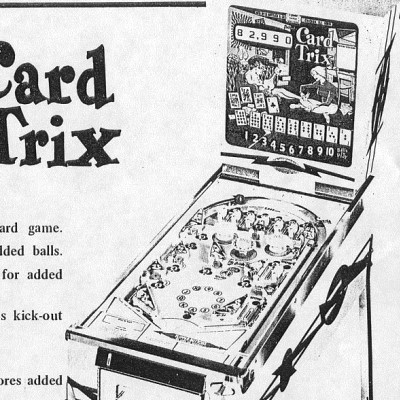 gottlieb, card trix, pinball, sales, price, date, city, condition, auction, ebay, private sale, retail sale, pinball machine, pinball price