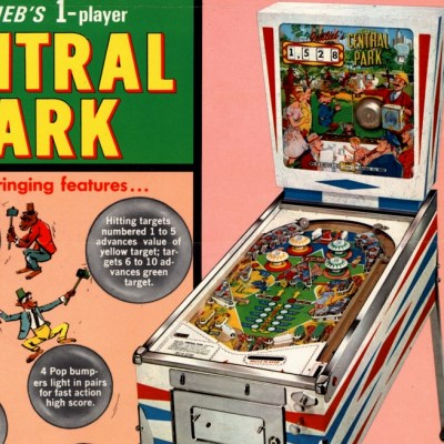 gottlieb, central park, pinball, sales, price, date, city, condition, auction, ebay, private sale, retail sale, pinball machine, pinball price