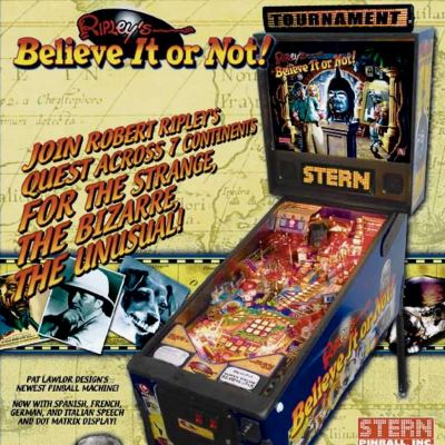 stern, ripley's believe it or not, pinball, sales, price, date, city, condition, auction, ebay, private sale, retail sale, pinball machine, pinball price