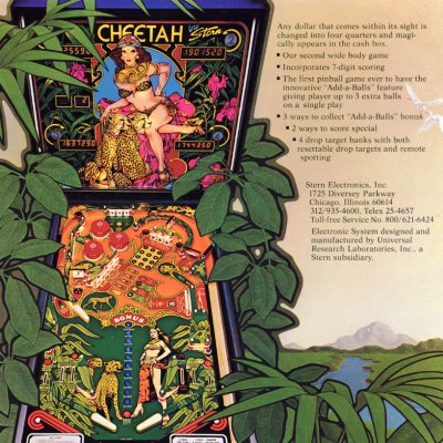 stern, cheetah, pinball, sales, price, date, city, condition, auction, ebay, private sale, retail sale, pinball machine, pinball price