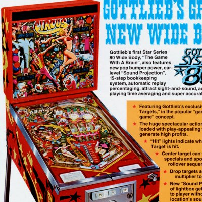 gottlieb, circus, pinball, sales, price, date, city, condition, auction, ebay, private sale, retail sale, pinball machine, pinball price