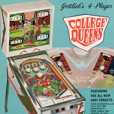 gottlieb, college queens, pinball, sales, price, date, city, condition, auction, ebay, private sale, retail sale, pinball machine, pinball price