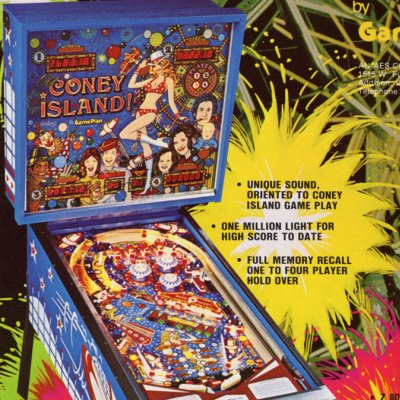 game plan, old coney island, pinball, sales, price, date, city, condition, auction, ebay, private sale, retail sale, pinball machine, pinball price