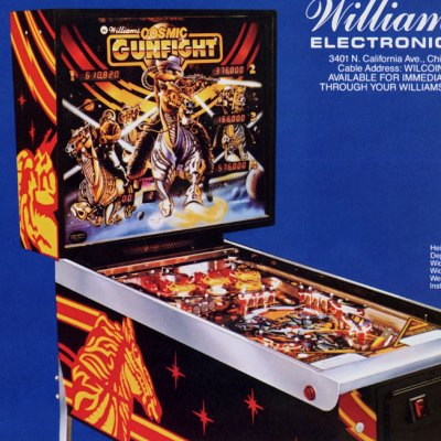 williams, cosmic gunfight, pinball, sales, price, date, city, condition, auction, ebay, private sale, retail sale, pinball machine, pinball price