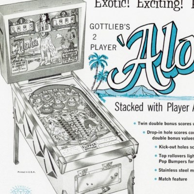 gottlieb, aloha, pinball, sales, price, date, city, condition, auction, ebay, private sale, retail sale, pinball machine, pinball price