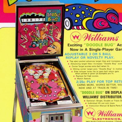 williams, doodle bug, pinball, sales, price, date, city, condition, auction, ebay, private sale, retail sale, pinball machine, pinball price