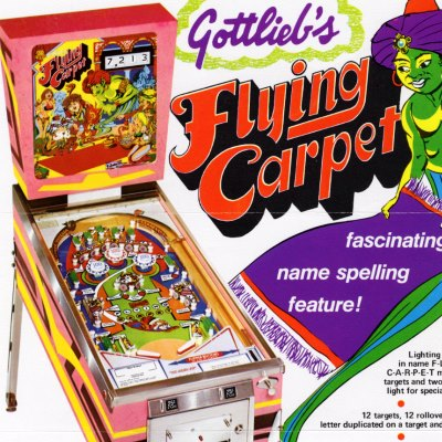 gottlieb, flying carpet, pinball, sales, price, date, city, condition, auction, ebay, private sale, retail sale, pinball machine, pinball price