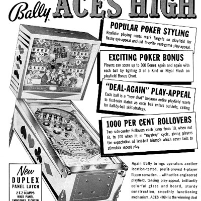bally, aces high, pinball, sales, price, date, city, condition, auction, ebay, private sale, retail sale, pinball machine, pinball price